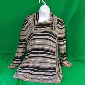 Spense M cowl neck tan/black stripe long sleeve